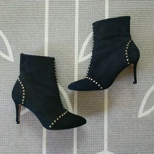 Zara Gold Studded Black Suede Stiletto Ankle Boots